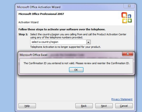 microsoft office 2007 activation key telephone